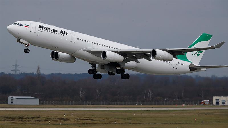An Airbus A340-300 from Iranian airline Mahan Air takes off from Dusseldorf airport in Germany [File: Wolfgang Rattay/Reuters]