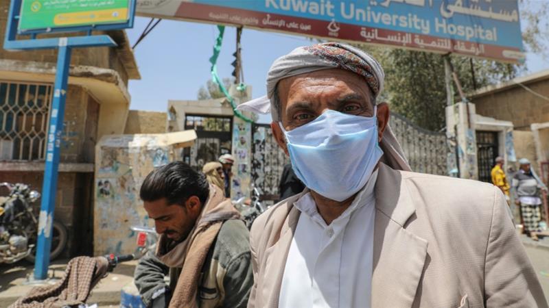 A man leaves a hospital for coronavirus patients in Yemen's capital, Sanaa [Khaled Abdullah/Reuters]