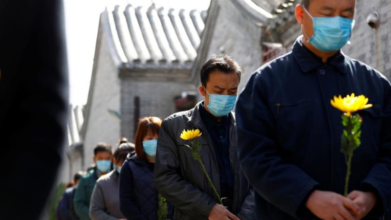China's day of mourning coincided with the Tomb-Sweeping Festival during which families traditionally visit the graves of their deceased relatives as a sign of respect [China Out/CNS via Reuters]
