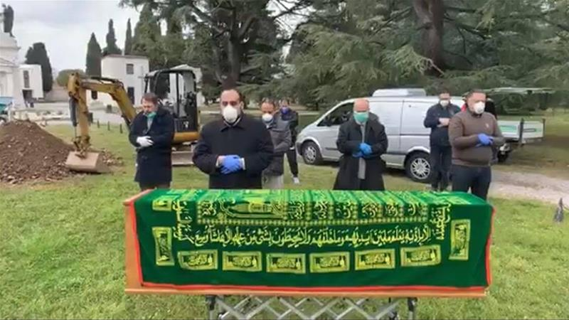 A scene from the funeral of Palestinian doctor Tahsin Khrisat, who was buried in the Muslim section of Brescia's public cemetery [Courtesy of family]