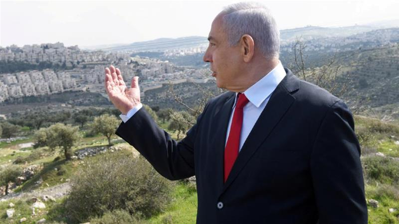 Israeli Prime Minister Benjamin Netanyahu overlooking the Har Homa settlement outside Bethlehem. Before the Israeli settlement was built, to limit the growth of the Palestinian city famed for the birth of Jesus, the hill was named Jabal Abu Ghneim [Debbie Hill/Pool/Reuters]