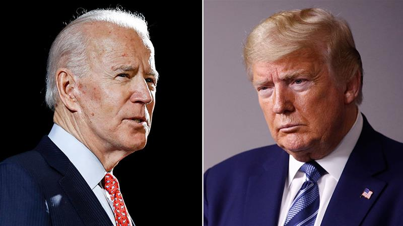 In this combination of file photos, former United States Vice President Joe Biden speaks in Wilmington, Delaware and US President Donald Trump speaks at the White House in Washington, DC, the US [File: AP Photos]