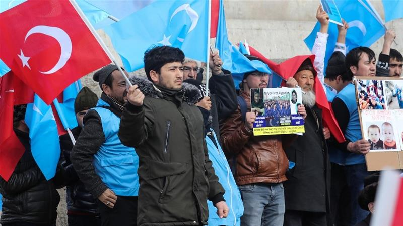 Uighurs living in Turkey stage a demonstration to commemorate the anniversary of the deadly ethnic unrests of 1997 in Gulja, Xinjiang, in Ankara on February 5, 2020 [Adem Altan/ AFP]