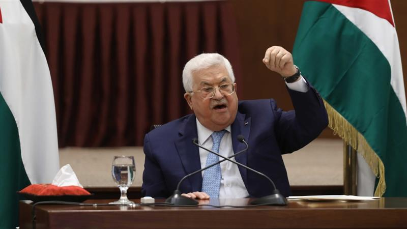 Palestinian President Mahmoud Abbas speaking during a leadership meeting in Ramallah, in the Israeli-occupied West Bank. Abbas says all deals with Israel and the US are now void [Alaa Badarneh/Pool via Reuters] [Daylife]