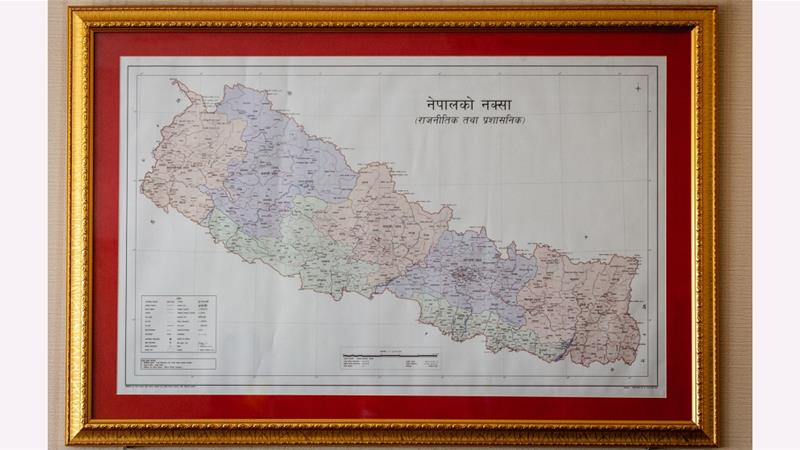 A view of Nepal's updated map released last month by Minister for Land Management, Padma Aryal [File: Prabin Ranabhat/SOPA Images/LightRocket via Getty Images]
