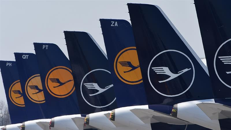 Lufthansa received a $9.9bn bailout and, in return, agreed with the European Union to give up some of its airport slots. Now, the German flagship carrier faces challenges from budget airlines which want to muscle in on its market share [File: Christof Stache/AFP]
