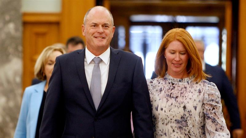 Todd Muller, with his wife Michelle, took the management if Original Zealand's opposition celebration on Friday after notion polls steered Original Zealand High Minister Jacinda Ardern heading for a elephantine victory within the September total election [Nick Perry/AP Photo]  [The Associated Press]