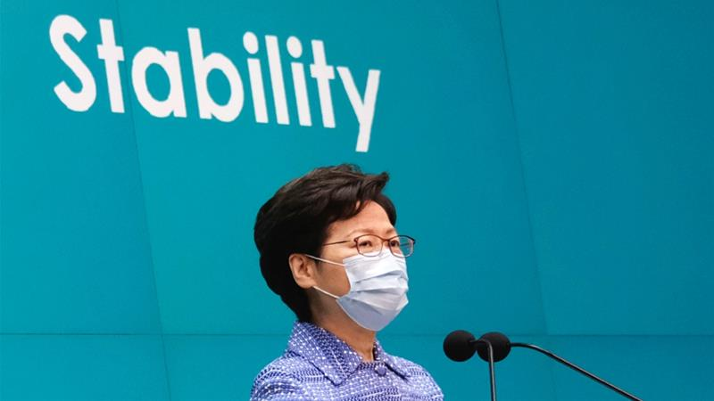 Hong Kong Chief Executive Carrie Lam speaks during a news conference in Hong Kong on May 26, 2020 [Tyrone Siu/Reuters]