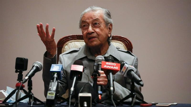 Mahathir Mohamad speaks during a news conference in Putrajaya, Malaysia [File: Lim Huey Teng/Reuters]