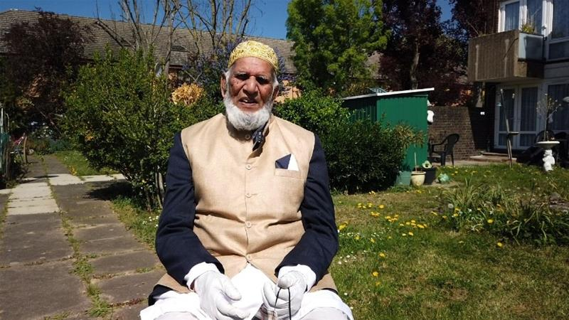 Dabirul Choudhury, 100, has walked more than 100 laps in his garden in a bid to raise funds for coronavirus victims in the UK and Bangladesh [Courtesy: Dabirul Choudhury]
