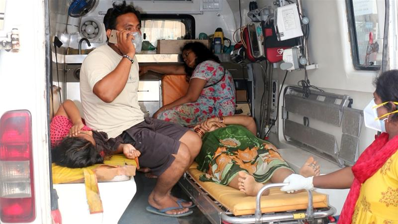 People affected by a gas leak last month at Visakhapatnam's LG Polymers Plant being transported in a ambulance [File: R Narendra/Reuters]