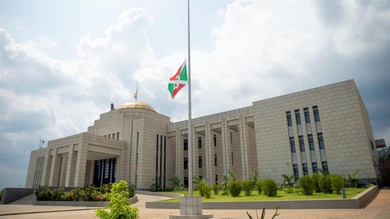 The Burundian national flag flies at half mast outside the State House building following the death of Nkurunziza [Reuters]