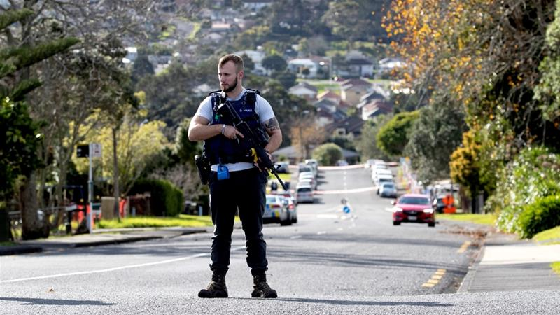 Police cordoned off the residential area around the Auckland street after an officer was shot dead during what was an apparently routine traffic stop [Greg Bowker/AFP]
