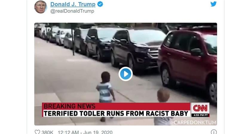Twitter flags Trump's tweet of doctored 'racist baby' video