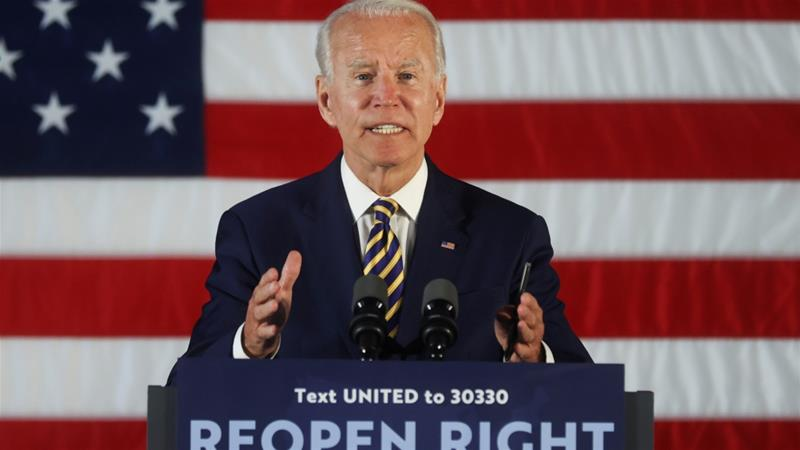 Democratic presidential candidate and former Vice President Joe Biden speaks during a campaign event at a community centre in Darby, Pennsylvania, the United States [File: Jonathan Ernst/Reuters]