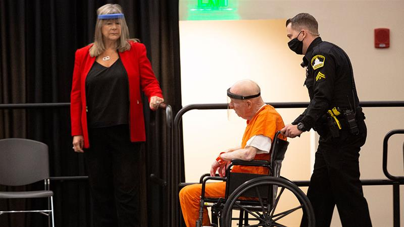 Joseph James DeAngelo, charged with being the Golden State Killer, is wheeled into the courtroom in Sacramento, California on Monday. The 74-year-old pleaded guilty to multiple counts of murder and other charges. [Rich Pedroncelli/AP Photo]