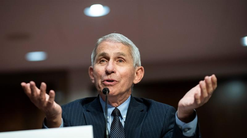 Anthony Fauci, director of the National Institute of Allergy and Infectious Diseases, speaking during a Senate Health, Education, Labor and Pensions Committee hearing in Washington, DC, US [File: Al Drago/Pool via Reuters]