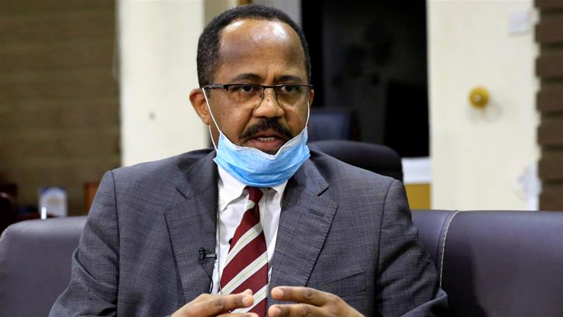Sudan's Minister of Health Akram Ali Altom speaks during an interview amid concerns about the spread of COVID-19, in Khartoum, Sudan [Mohamed Nureldin Abdallah/Reuters]