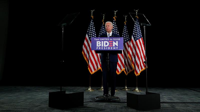 United States Democratic presidential candidate Joe Biden speaks during a campaign event about the US economy at Delaware State University in Dover, Delaware [Jim Bourg/Reuters] [Reuters]