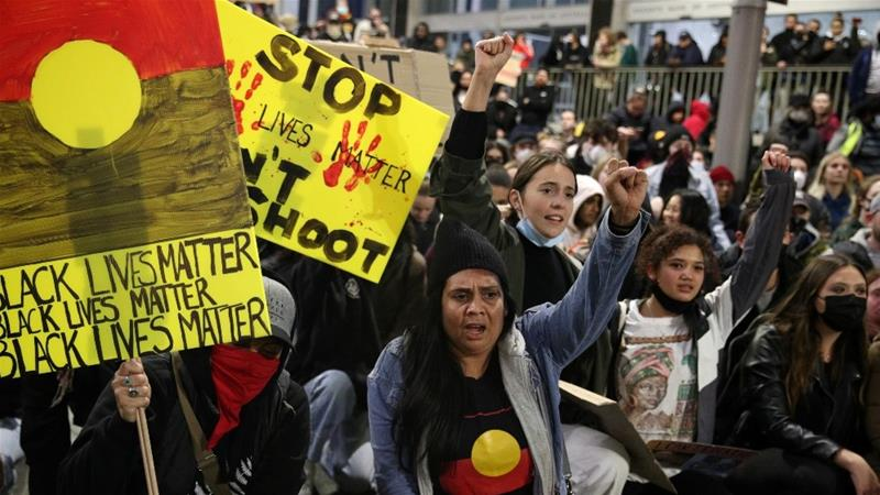 People in Australia have been holding rallies this week to show solidarity with protests in the United States and to highlight Australia's own poor record on Indigenous deaths in custody [Loren Elliott/Reuters]