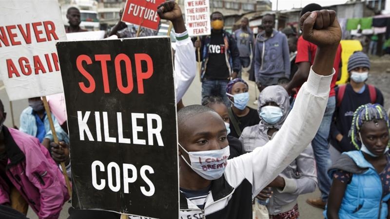 Protesters rally against police brutality in the Mathare settlement of Nairobi [Khalil Senosi/AP Photo]