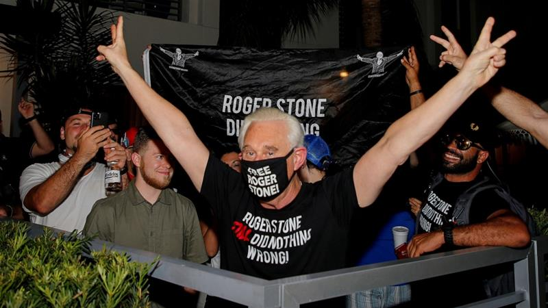 Roger Stone, a longtime friend and adviser of United States President Donald Trump, reacts after Trump commuted his federal prison sentence, outside his home in Fort Lauderdale, Florida on Friday [Joe Skipper/Reuters]