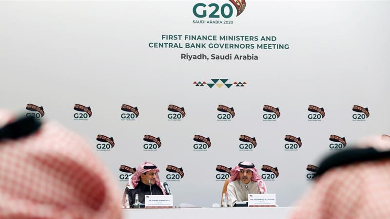 Saudi Minister of Finance Mohammed al-Jadaan speaks during a media conference on the sidelines of a G20 meeting in Riyadh, Saudi Arabia on February 23, 2020 [File: Reuters/Ahmed Yosri]