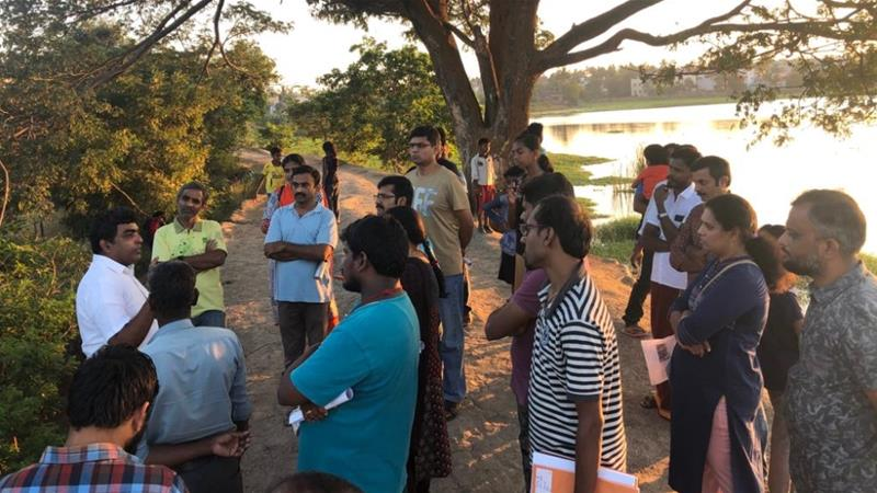 Volunteers lead a tree walk at Chitlapakkam lakeside, located about seven kilometres from the Chennai airport [Photo courtesy of Shobha Menon]