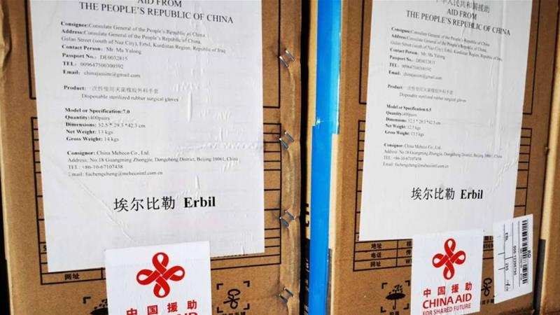 Since March, China delivered several large batches of medical aid containing personal protective equipment and COVID-19 testing kits to the KRI [Consulate General of China in Erbil/Facebook]