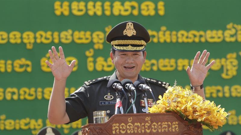 Hun Manet delivers a speech while presiding over a military equipment delivery ceremony at the National Olympic Stadium in Phnom Penh, Cambodia, June 18, 2020 [AP Photo/Heng Sinith]