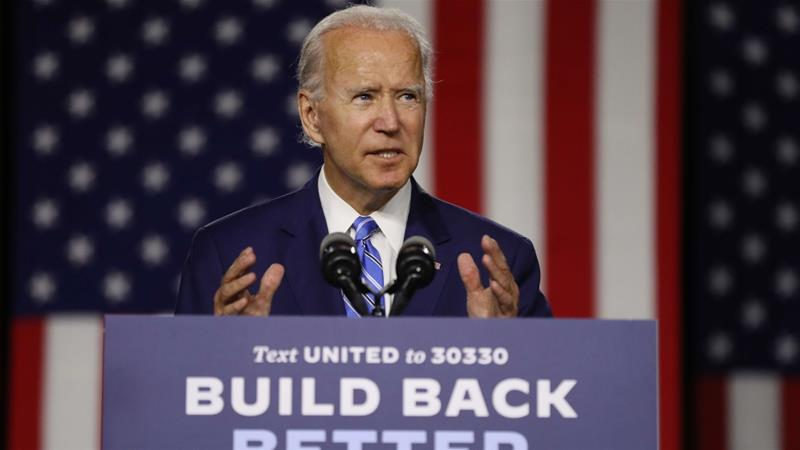 Joe Biden speaks about his 'Build Back Better' clean energy economic plan in Wilmington, Delaware on July 14 [Chip Somodevilla/Getty Images/AFP]