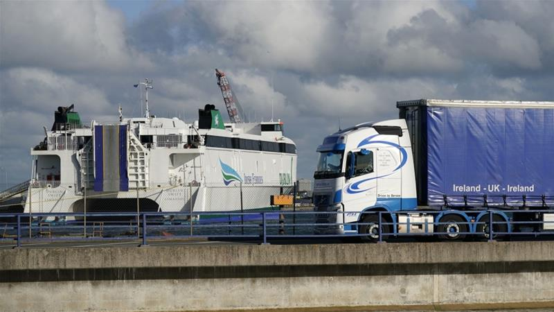 To avoid putting customs posts on the border with the Republic of Ireland, the UK government is required to check goods moving from Great Britain into Northern Ireland [File: Bloomberg]