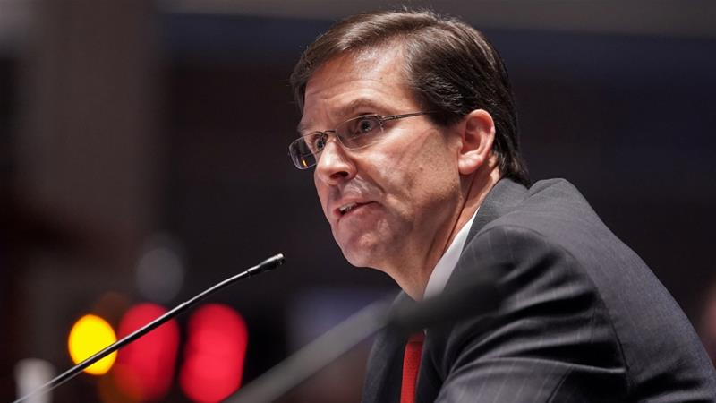 The US defence secretary, Mark Esper, says he is looking at possibility of changing troop levels 'in every command we have, in every theatre'  [Greg Nash/Pool via Reuters]