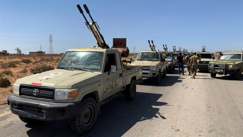 Troops loyal to Libya's internationally recognised government on the outskirts of Misrata, Libya [Ayman Sahely/Reuters]
