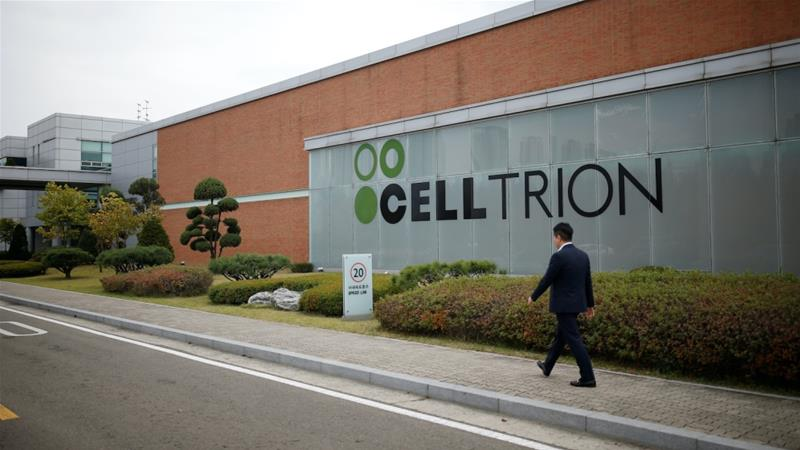 Shares of South Korea's Celltrion, which is developing a potential coronavirus treatment, have almost doubled in value this year [File: Kim Hong-Ji/Reuters]