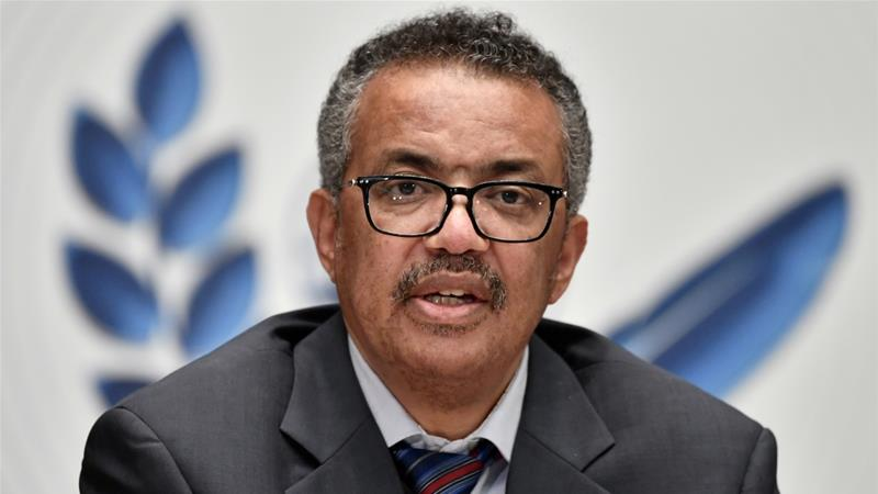 Speaking from the United Nations body's headquarters in Geneva, World Health Organization Director-General Tedros Adhanom Ghebreyesus urged governments and citizens to rigorously enforce health measures such as mask-wearing, social distancing, handwashing and testing [Fabrice Coffrini/Reuters]