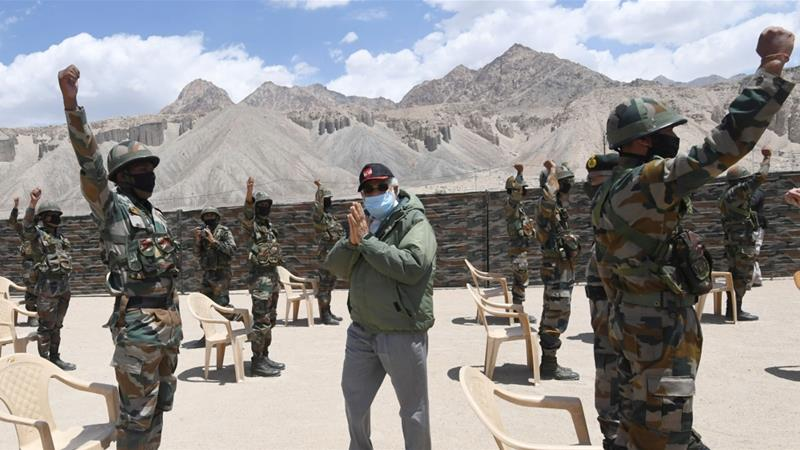 India's Prime Minister Narendra Modi visited the Himalayan region of Ladakh on July 3, 2020 [India's Press Information Bureau via Reuters]