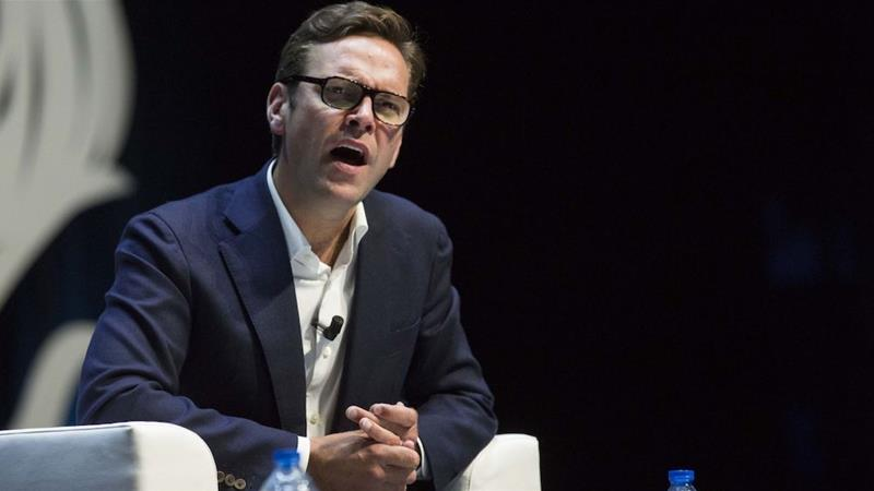 James Murdoch has said he does not watch Fox News, and he's taken issue with News Corp's coverage of wildfires for downplaying global warming [File: Christophe Morin/Bloomberg]
