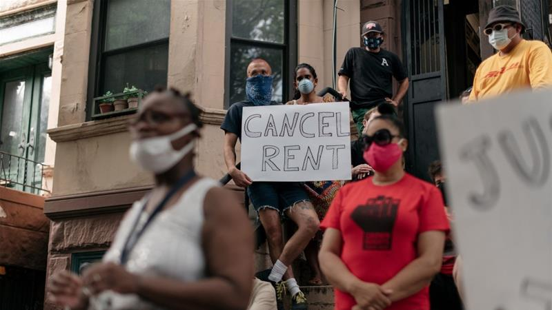 Already enduring the brunt of the pandemic's health and financial effects, Black Americans and other minorities are vulnerable to the flood of evictions that have been predicted for 2020 [File: Scott Heins/Getty Images via Bloomberg]
