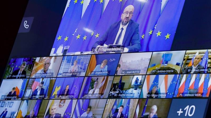 EU leaders held an emergency video summit to discuss the crisis in Belarus [Olivier Hoslet/Pool/AFP]
