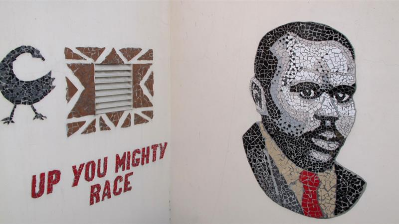 A mosaic of Marcus Garvey and one of his famous quotations are displayed in the courtyard of Liberty Hall in downtown Kingston, Jamaica on September 11, 2012 [File: AP/David McFadden]