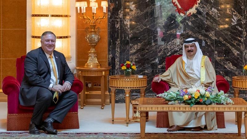 US Secretary of State Mike Pompeo meets Bahrain King Hamad bin Isa Al Khalifa during his visit to Manama, Bahrain [Reuters]