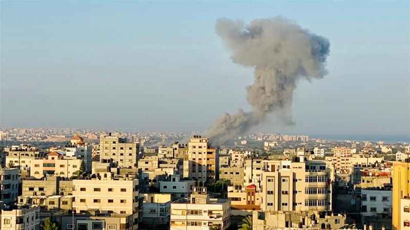 Smoke rises following an Israeli air attack on the Gaza Strip [Mohammed Shana/Reuters]