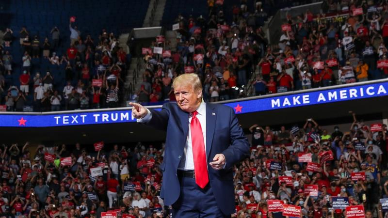US President Donald Trump points at the crowd during a re-election campaign at the BOK Center in Tulsa, Oklahoma, US on June 20, 2020 [File: Reuters/Leah Millis]