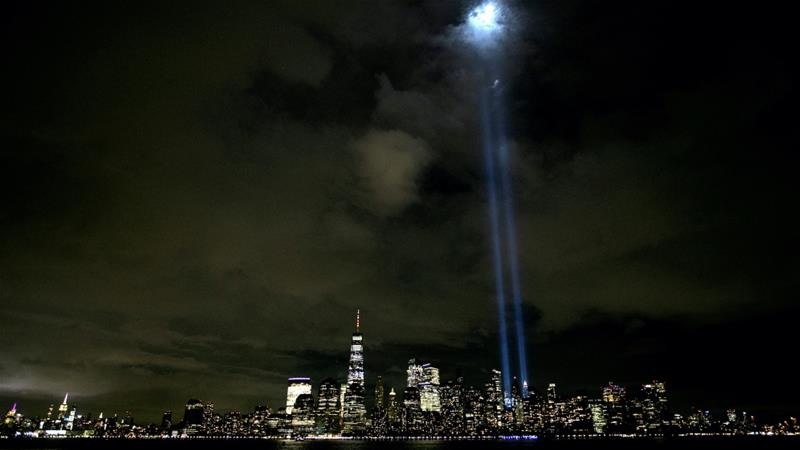 The Tribute In Light shines above the skyline of Manhattan on the eve of the 19th anniversary of the 9/11 attacks, as seen from Jersey City, New Jersey, US, Sept 10, 2020 [Mike Segar/Reuters]