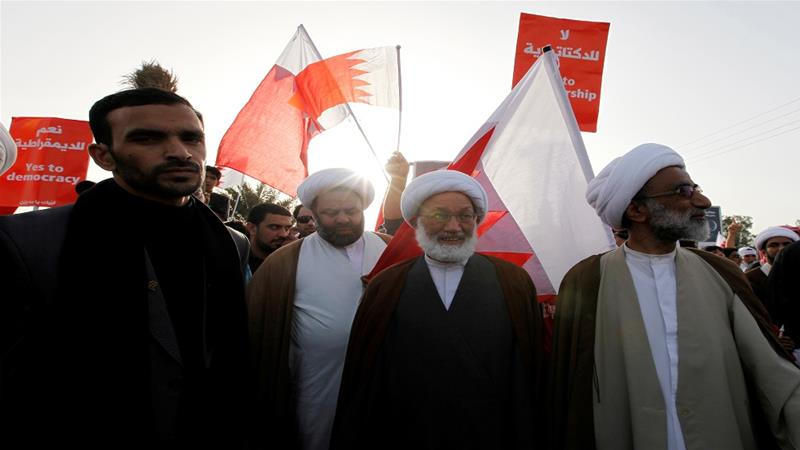 Bahrain's leading Shia Muslim scholar Sheikh Isa Qassim takes part in an anti-government rally in Budaiya, west of Manama, in 2012 [File: Hamad I Mohammed/Reuters]