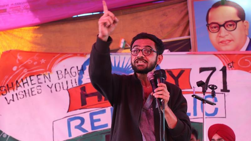 Umar Khalid speaks at Shaheen Bagh in New Delhi during the anti-CAA protests in January [File: Nasir Kachroo/Getty Images]