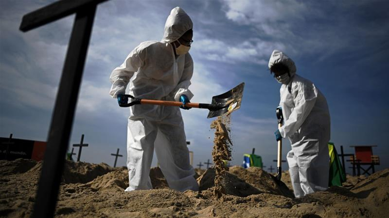 Activists from a Brazilian NGO dig mock graves on the beach in protest against Brazil's 'bad governance' of the coronavirus [Carl De Souza/AFP]