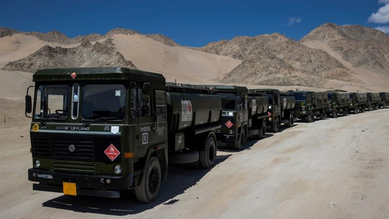 Military tankers carrying fuel move towards forward areas in the Ladakh region, September 15, 2020 [Danish Siddiqui/Reuters]