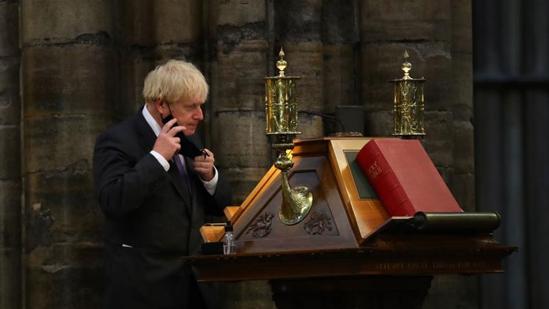 PM Boris Johnson during a service to mark the 80th anniversary of the Battle of Britain at Westminster Abbey on September 20, 2020 [Aaron Chown/WPA Pool/Getty Images]
